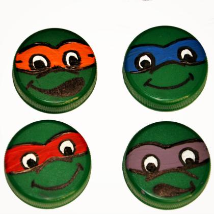 Teenage Mutant Ninja Turtle Party Ideas for Kids Bottle Cap Ninja