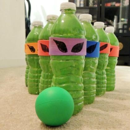 Teenage Mutant Ninja Turtle Party Ideas for Kids Bottle Game
