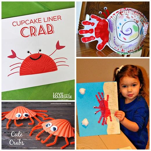 Paper Plate Hermit Crab Handprint Crab Craft Cupcake Liner Crab Seashell Crabs